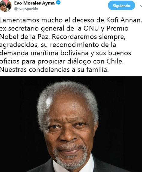 El presidente Evo Morales lamentó la muerte de Kofi Annan