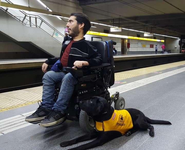 Un perro de asistencia con su dueño, en el subte porteño (Archivo)