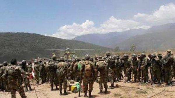 Fuerzas de erradicación en la localidad de La Asunta. Foto: Leo Estrada