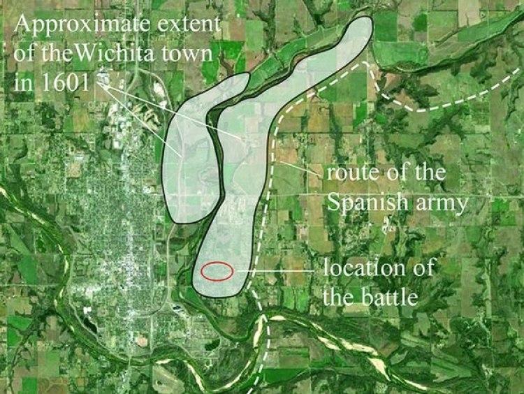 """Los españoles subieron desde el sur por la línea de puntos. Como intentaron secuestrar a la delegación de los Wichita,los indígenas abandonaron laciudad (der.). Al regresar hacia el sur, otra tribu los emboscó (""""location of the battle). Nunca volvieron. (etzanoa.com)"""