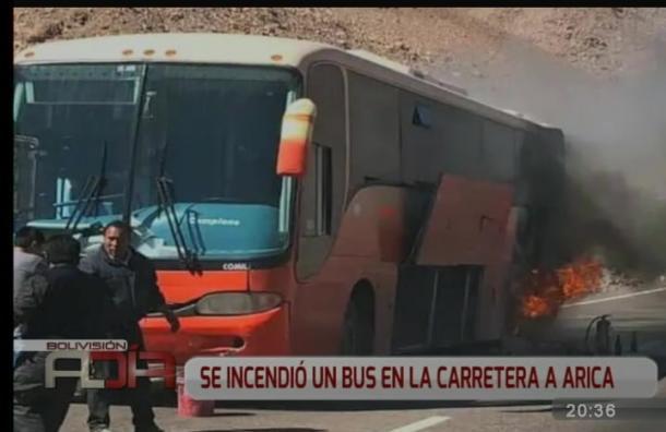 Se incendió bus en la carretera a Arica