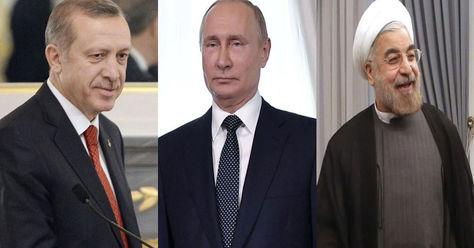 (De izq. a der.) Recep Tayyip Erdogan, Vladimir Putin y Hasan Rohaní presidentes de Turquía, Rusia e Irán respectivamente. Fotos: EFE
