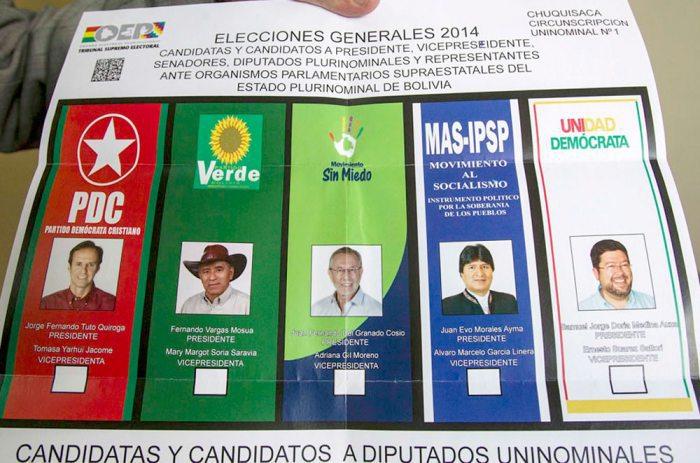 PAPELETA ELECTORAL DE 2014 DONDE APARECEN LOS CANDIDATOS A LA PRESIDENCIA.