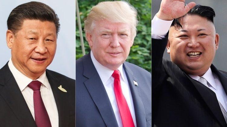Xi Jinping, presidente chino; Donald Trump, presidente de EEUU;y Kim Jong-un, dictador norcoreano (Getty)