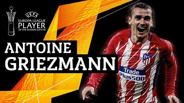 griezmann fue elegido el mejor jugador de la uefa europa league 2017 18