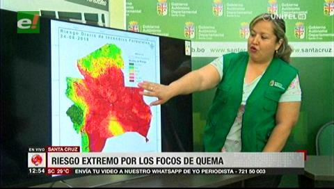 Fuertes vientos provocan incendios forestales en el departamento de Santa Cruz