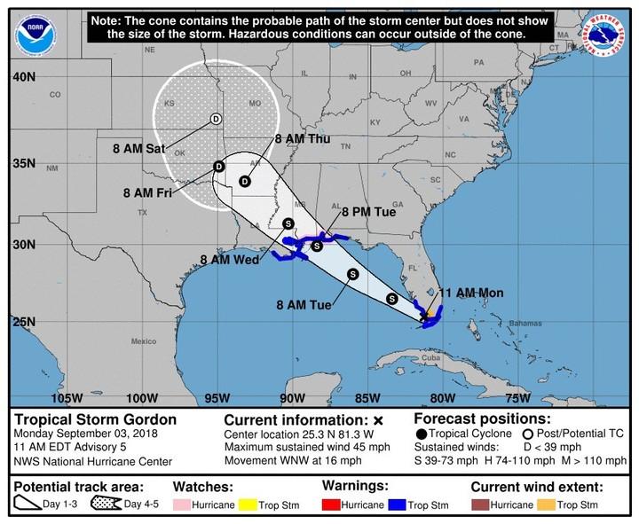 Fotografía cedida por el Centro Nacional de Huracanes, donde se muestra el pronóstico de cinco días del paso de la tormenta tropical Gordon por el Golfo de México./ EFE