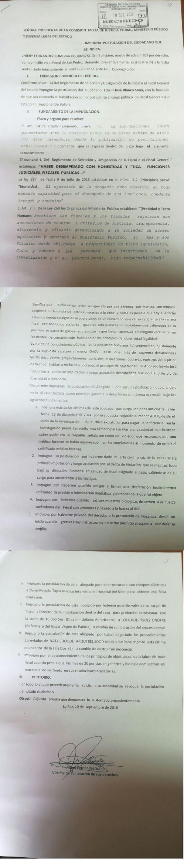 Caso Alexander impugnación a Edwin Blanco