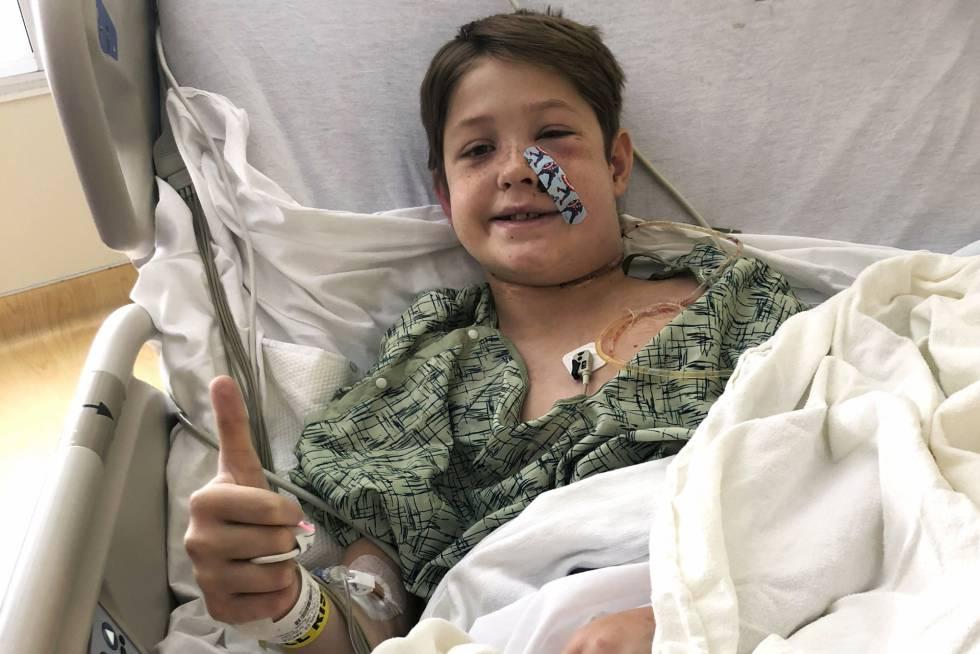 Xavier Cunningham, este lunes en el hospital Universidad de Kansas.