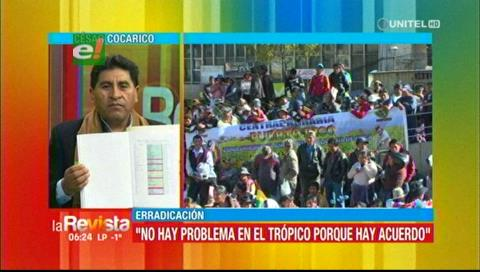 Ministro Cocarico muestra el supuesto aumento de cocales fuera de La Asunta