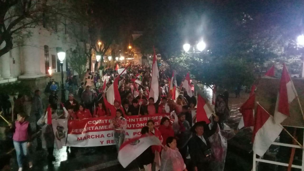 Comité Cívico agradece a Tarija por la multitudinaria marcha por la democracia de Bolivia