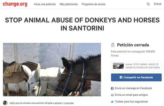 Una petición en change.org ha recogido más de 100.000 firmas contra el abuso animal en Santorini