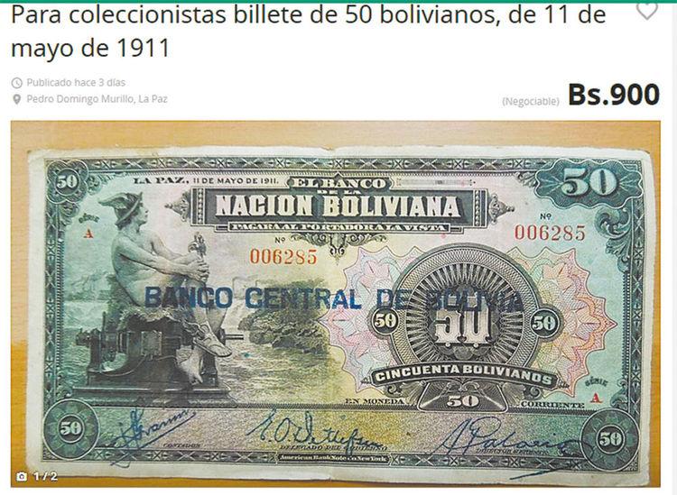 OLX. Este billete de 50 bolivianos y de 1911 cuesta Bs 900.