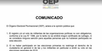 TSE: No es obligatorio el registro de militantes para participar de las elecciones generales