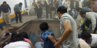 10 personas resultan heridas al colapsar el piso en una graduación
