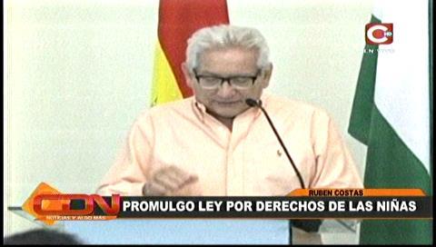 Gobernador Costas promulga Ley Departamental en favor de las niñas y adolescente