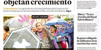 Portadas de periódicos de Bolivia del viernes 12 de octubre de 2018