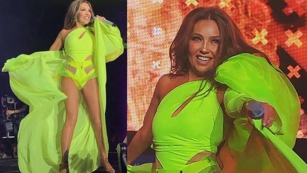 El momento en que una falla técnica dejó expuesta a Thalía en pleno escenario