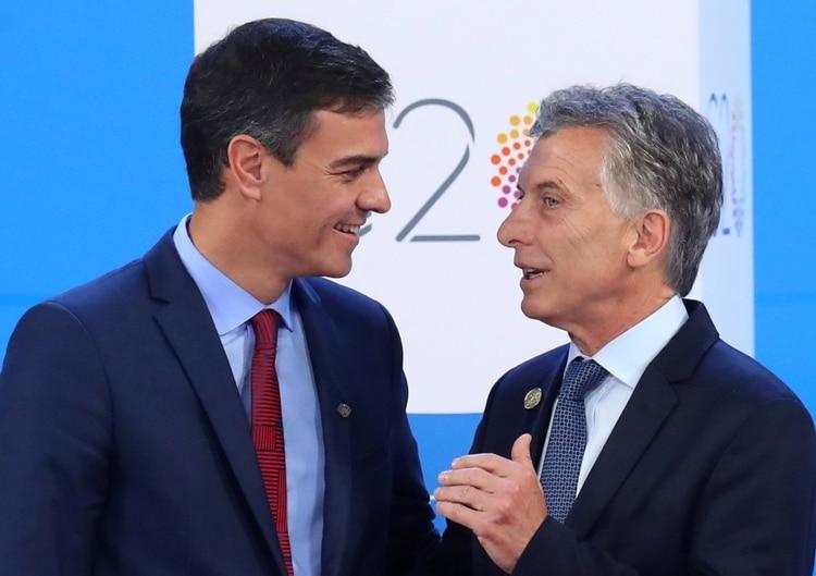 Pedro Sánchez y Mauricio Macri, durante la cumbre del G20 en Argentina (Reuters)