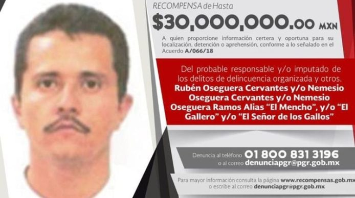 La Fiscalía federal ofrece 30 millones de pesos por su captura