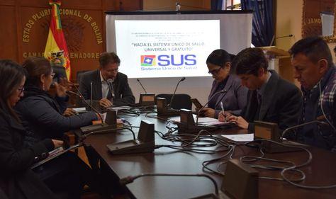 La sesión de la Comisión de Política Social de la Cámara de Senadores que trata el proyecto de ley del SUS.