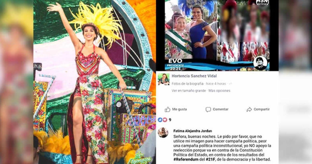 La reina del Carnaval cruceño, molesta por el uso político de su imagen