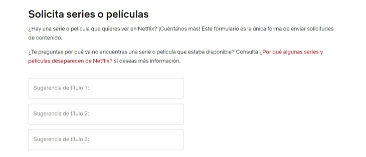 Solicitar título en Netflix pasos