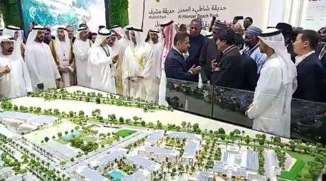 El presidente Evo Morales a su llegada a la novena Reunión Anual de Inversión 2019 en Dubái.