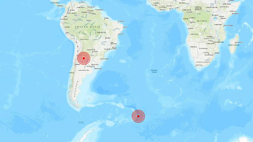 Se registra un sismo de 5,1 en Argentina y otro de 5,5 al sur del océano Atlántico