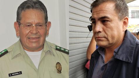 El coronel Gonzalo Medina en una fotografía de archivo y el capitán Fernando Moreira antes de declarar en la Fiscalía de Santa Cruz este martes 23 de abril de 2019.