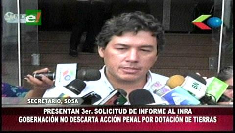 Gobernación cruceña pide al INRA brinde informe sobre los asentamientos en San Miguel
