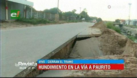 Cierran un tramo de la vía a Paurito por el hundimiento del asfalto
