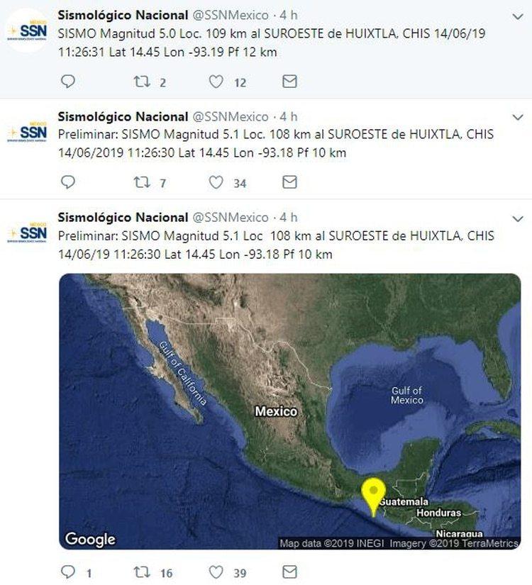 De acuerdo al organismo operado por el Instituto de Geofísica de la Universidad Nacional Autónoma de México (UNAM) este movimiento fue percibido al suroeste de Huixtla, a las 11:26:31 horas de este viernes. (Foto: captura de pantalla)