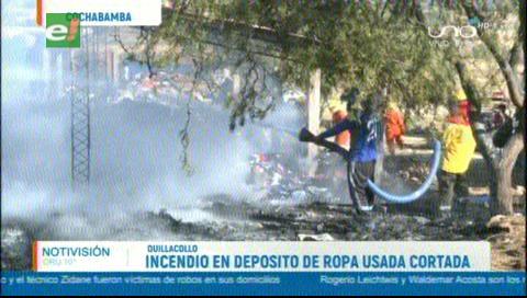 Una quema provoca un incendio en un depósito de ropa usada en Cochabamba