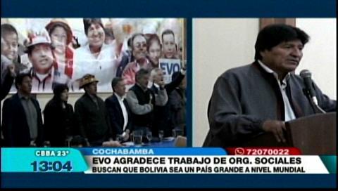 Evo dice que los movimientos sociales son «libertadores» de Bolivia y pide no claudicar ante embestida de la oposición