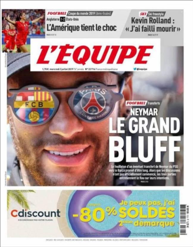 Portada del diario francés L'Equipe del día 3 de julio de 2019.