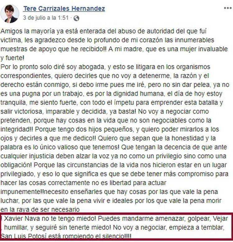 En su cuenta de Facebook, Carrizales denunció al presidente municipal, Xavier Nava, quien cree mandó a golpearla (Foto: Facebook)