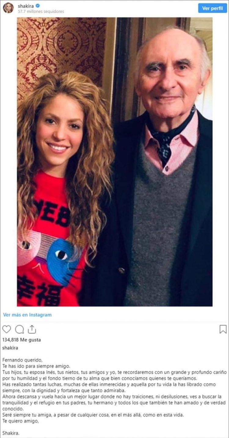 El posteo de Shakira en Instagram, despidiendo a Antonio de la Rúa