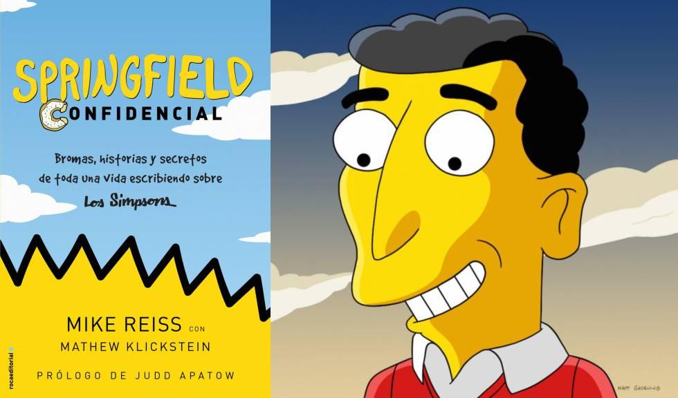 Portada del libro 'Springfield Confidencial' y caricatura del guionista Mike Reiss.