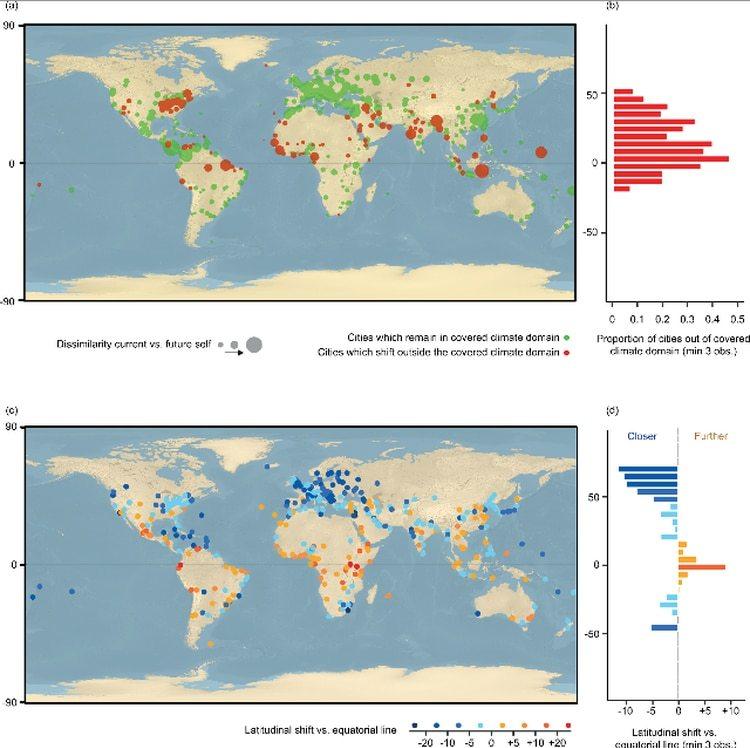 El nuevo estudio de la universidad ETH Zurich analizó el clima en 520 ciudadescon miras a 2050.