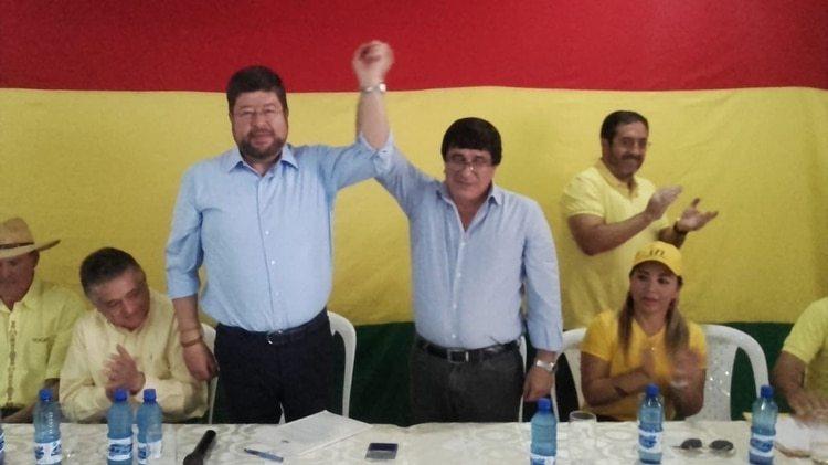 Doria Medina, la semana pasada en Beni, al anunciar la alianza con el ex gobernador Carmelo Lens para las elecciones subnacionales del próximo año
