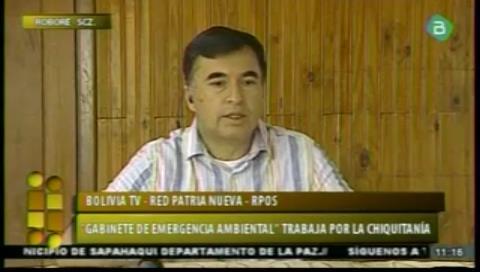 Quintana acusa a la oposición de ocasionar incendios en San Lorenzo, de la Chiquitania