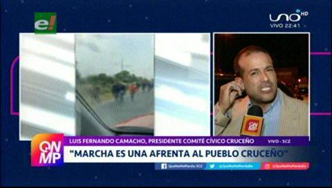 Camacho: «La marcha campesina es una afrenta al pueblo cruceño»