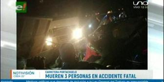 Tres personas mueren en fatal accidente en la vía Portachuelo-Buena Vista