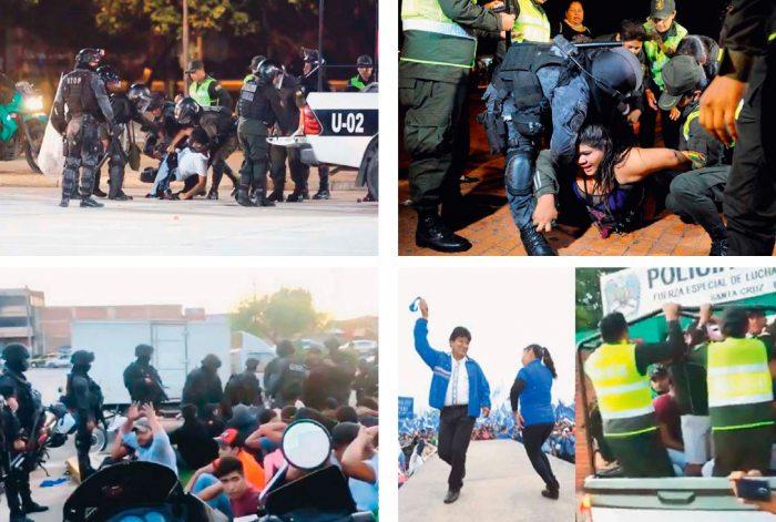 Policía reprimió a cruceños mientras Evo y el MAS festejaban
