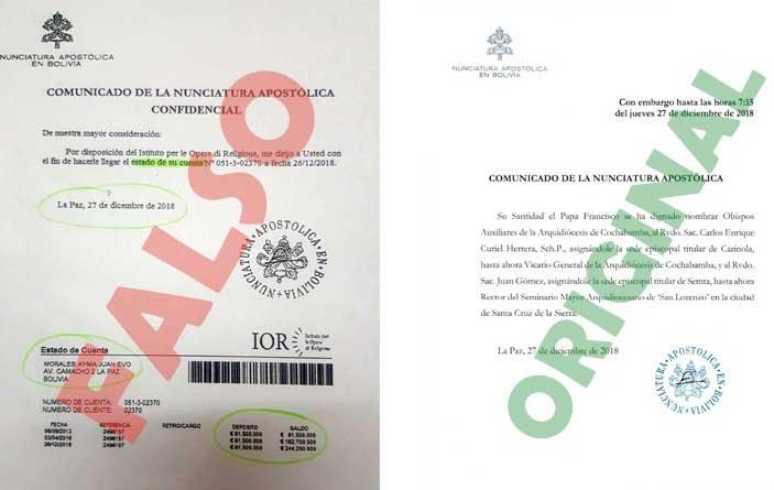 Iglesia denuncia que se falsificaron documentos para acusar al presidente Morales y al vicepresidente García de tener cuentas en el Vaticano