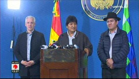 Evo llama a partidos a un diálogo urgente para pacificar Bolivia con mediación de la Iglesia