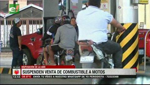 La ANH suspende en surtidores la venta de gasolina a motocicletas en Cochabamba