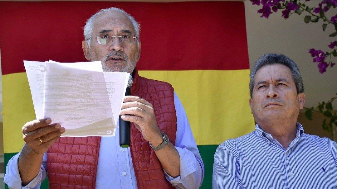El expresidente y líder opositor Carlos Mesa junto Gustavo Pedraza, confirmo el binomio de CC rumbo a las elecciones de 2020.  APG