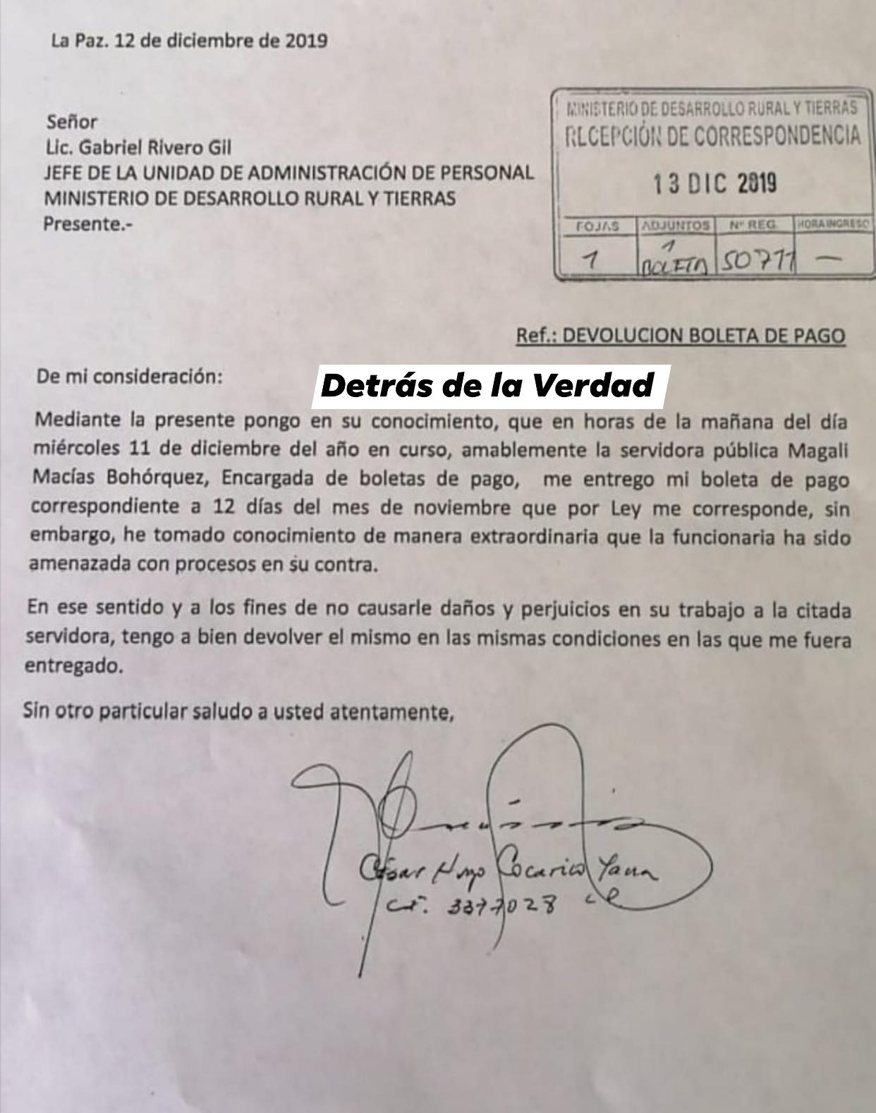 César Cocarico devuelve boleta de pago y pide no procesar a funcionaria de ministerio